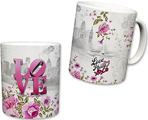 City of Philadelphia Inspired Mug | Ceramic Coffee Cup | Downtown Skyline Background | Liberty Bell & Love Park | Pink Floral | Philly XOXO | Novelty Gift | 11 Fl. Oz (White/Pink) ()