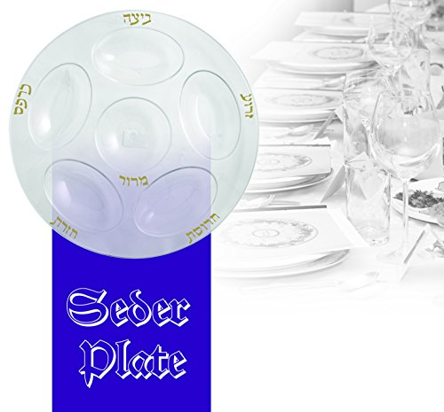 (Party Bargains Passover Seder Plate | Durable Elegant Plastic Traditional Plates with Gold Lettering Clear - 12 Inch Round | Pack of 4 )