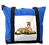 Lunarable Africa Shoulder Bag, Stripped Animal Watercolors, Durable with Zipper