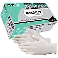 Mediflex Flexi Powder Free Latex Gloves (100/Box) - 245mm Cuff Length, 4mil Thickness, Micro Textured Fingertips, Non…
