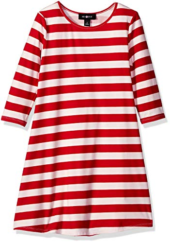 Amy Byer Girls' Big Cute Ugly Christmas Sweater Dress, red Candy Cane Stripe, M -