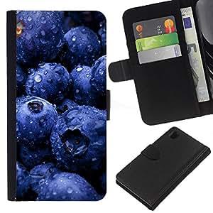 Ihec-Tech / Flip PU Cuero Cover Case para Sony Xperia Z1 L39H - Fruit Blueberries