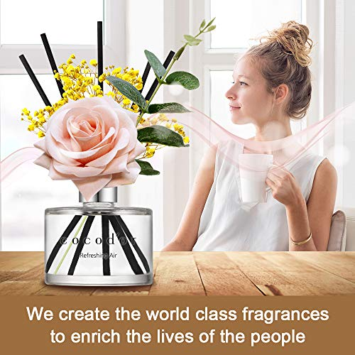 Cocod'or Rose Flower Reed Diffuser/Pure Cotton / 6.7oz(200ml) / 1 Pack/Reed Diffuser Set, Oil Diffuser & Reed Diffuser… 3