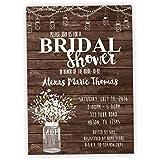country bridal shower invitations rustic wood mason jar