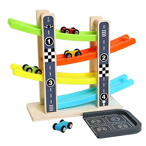 Joqutoys Wooden Ramp Race Car Track Parking Garage Set Kids Game Racing Kit Toys for Toddler with 4 Mini Racers (Car Race Wooden)