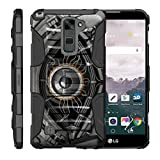 TurtleArmor | LG Stylus 2 Case | LG G Stylo 2 Case [Hyper Shock] Rugged Hybrid Hard Shell Kickstand Fit Holster Clip Military War Robot Android Design - Cyborg Eye