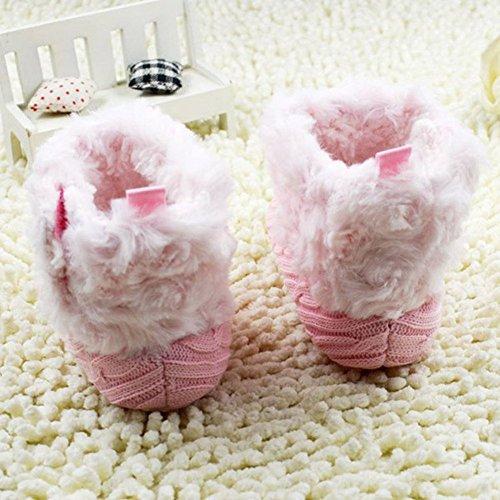 SODIAL (R) Saeuglings-Baby Haekelarbeit/ Knit Vlies Stiefel Kleinkind Maedchen Wolle Schnee Krippe Schuhe - Groesse M