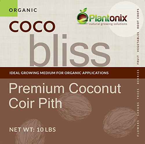 Coco Bliss Premium Coconut Coir Pith 10 lbs Brick/Block, OMRI Listed for Organic Use (100% Coir Fiber)
