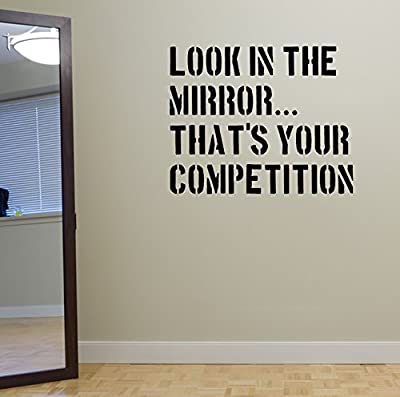 Look in the Mirror. Gym Wall Decal Quote Fitness Workout Boxing