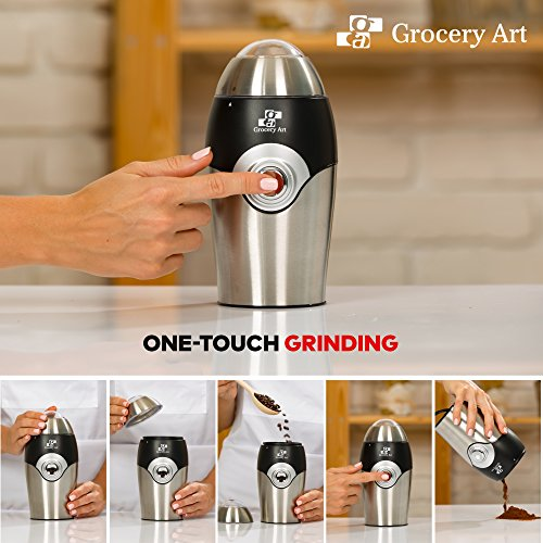 [Upgraded] Electric Coffee Grinder Blade Mill - Small & Compact Simple Touch Automatic Grinding Tool Appliance for Whole Coffee Beans, Spices, Herbs, Pepper, Salt & Nuts - Great Coffee Gift Idea! by Grocery Art (Image #5)
