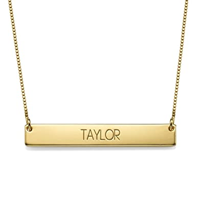 Amazon.com: Bar Necklace in All Capital Letters Personalized Name ...