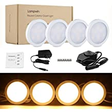 LED Under Cabinet Lighting - 4 Pack Lampwin 2018 Warm White New Dimmable Kitchen Under Cabinet Puck Light Fixture Kit for Chirstmas Decorating Kitchen Wardrobe Counter Furniture Closet Mood Lighting