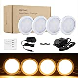 under cabinet lighting warm - LED Under Cabinet Lighting - 4 Pack Lampwin 2018 Warm White New Dimmable Kitchen Under Cabinet Puck Light Fixture Kit for Chirstmas Decorating Kitchen Wardrobe Counter Furniture Closet Mood Lighting
