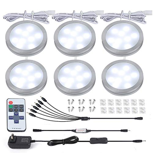 (HuaXinV Led Puck Light Under Counter Lighting, Puck Lights Dimmable 6 Pack, UL Listed Power Adapter, 1200lm Total of 12W DC12V 6000K Daylight LED Under Cabinet Lighting for Kitchen Closet)