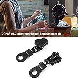20pcs Zipper Sliders Reemplazo Aleación de metal Tamaño # 5 Zip Fastener Reparación Kit de reemplazo Solución instantánea (negro)