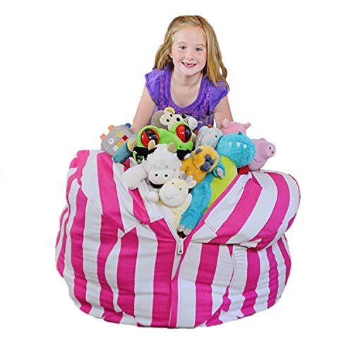 Creative QT Extra Large Stuff 'n Sit - Stuffed Animal Storage Bean Bag Chair for Kids - Pouf Ottoman for Toy Storage - Available in 2 Sizes and 5 Patterns (2 Storage Chairs)