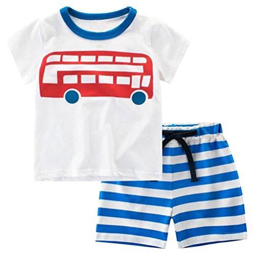 Csbks Kids Boys Summer Outfits Short Sleeve T-Shirt & Shorts Sets 1-6 Toddler 18 Months ()