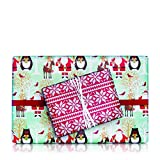 Santa, Bear, Reindeer/Cross Stich Flakes Double Sided Gift Wrap 24'' x 417' (Wraps Approximately 200 Gifts)