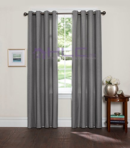 HLC.ME Leah Textured Thermal Room Darkening Energy Efficient Wide-Width Grommet Blackout Curtains for Living Room – Pair – 54″ W x 84″ L – Charcoal Grey