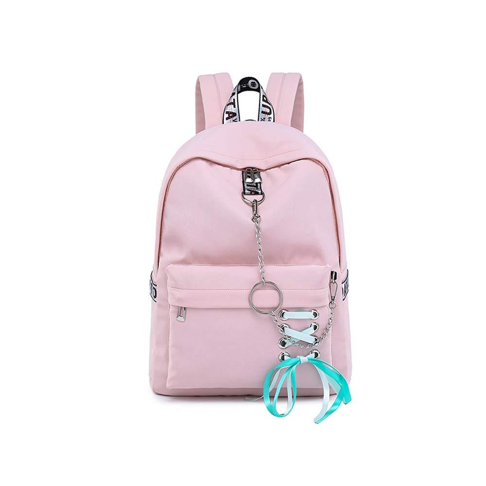 Pink Backpack WMQT High School Students Junior High School Large Capacity Waterproof