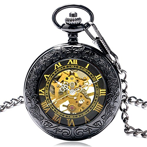 WIOR Retro Mechanical Pocket Watch Men Roman Numerals Hand-wind Pocket Watch with Fob Chain & Gift Box