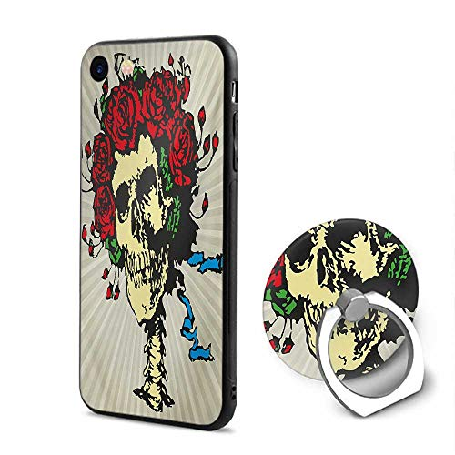 Rose iPhone 6/iPhone 6s Cases,Tattoo Art Style Graphic Skull in Red Flowers Crown Halloween Composition Print Beige Multicolor,Mobile Phone Shell Ring Bracket ()