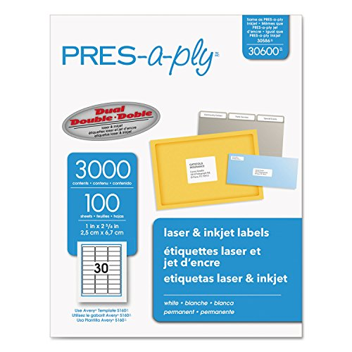(Pres-A-Ply Laser Address Labels, 1 x 2-5/8, White, 3000/Box, Total 30000 EA, Sold as 1 Carton)