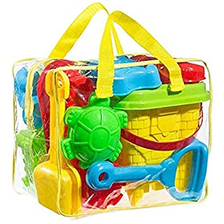 FoxPrint GT 1 Beach Sand Toy Set, Models & Molds, Bucket, Shovels, Rakes, Mesh Bag with Pull Strings for Easy Clean, & Reusable Zippered Bag. Will Keep Your Child Motivated for Hours, Colors May Vary