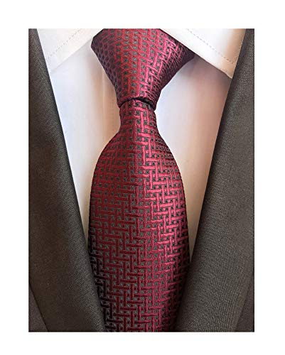 Men Burgundy Red Black Ties Maze Patterned Accessory Evening Dress Suit Necktie ()