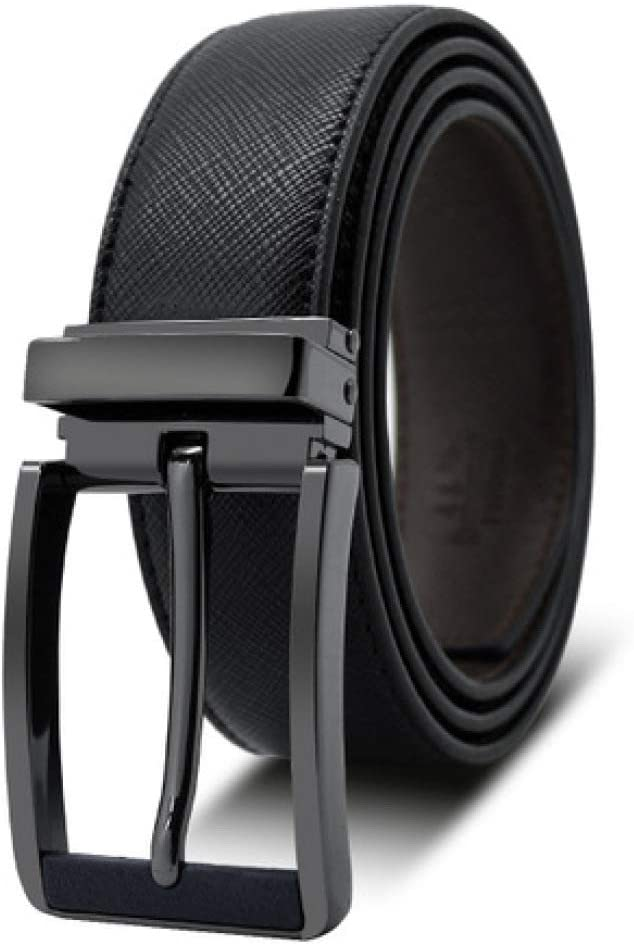 DENGDAI Mens Fashion Needle Buckle Head Belt Leather Belt Man
