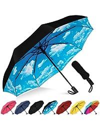 Compact Travel Umbrella - Windproof, Reinforced Canopy, Ergonomic Handle, Auto Open/Close Multiple Colors