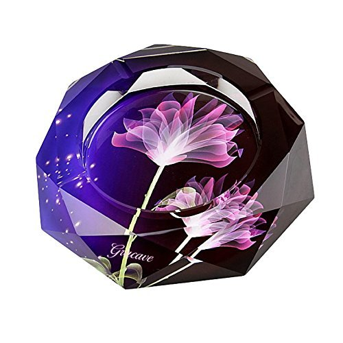 Gracave Crystal Cigarette Ashtray Home Office Tabletop Beautiful Decoration (Purple) by Gracave