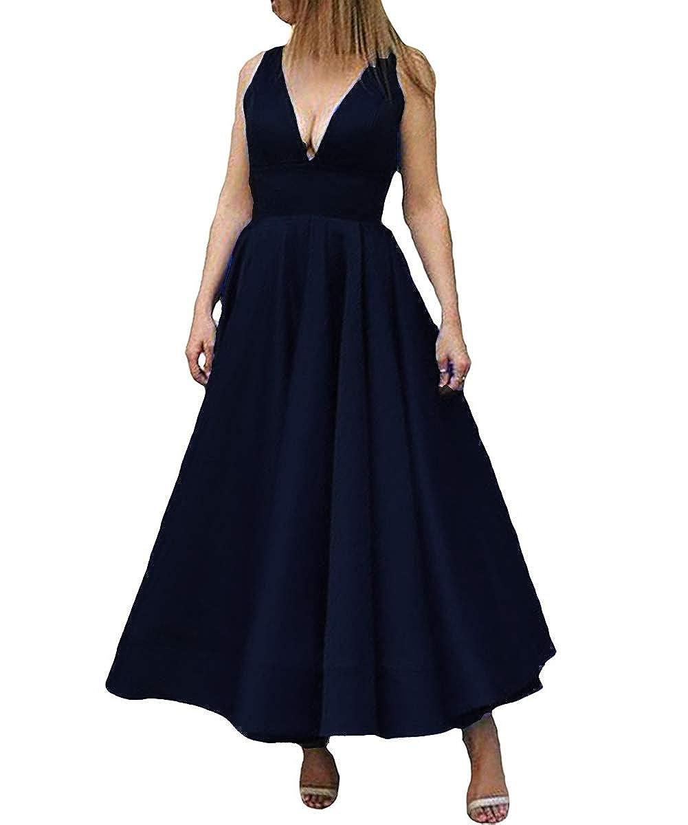 Dark Navy Kivary Deep V Neck A Line Ankle Length Corset Backless Formal Prom Evening Dress