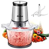 Kealive Electric Food Processor, 300W Meat Grinder, Multipurpose Kitchen Food Chopper for Meat, Vegetables, Fruit and Nuts with High/Low Speed Choice, 1.5 Liter Glass Bowl