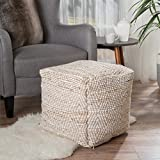 Bella Ivory Fabric Pouf