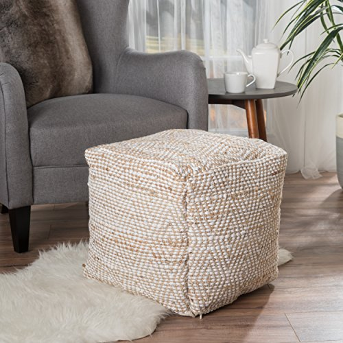 - Great Deal Furniture 299661 Bella Ivory Fabric Pouf,