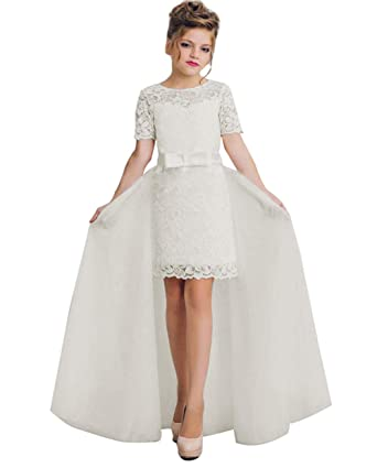 ba9c39dc71a1 KSDN Girls Above Knee Length Flower Dress Lace First Holy Communion Gown US  2 Ivory