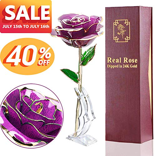 24K Gold Dipped Rose Real Rose Anniversary Gifts for Her Everlasting Rose for Mom, Forever Flower Gifts for Wife, Women Girls Wedding and Proposal Birthday Presents(with Moon Stand, Gift Box)