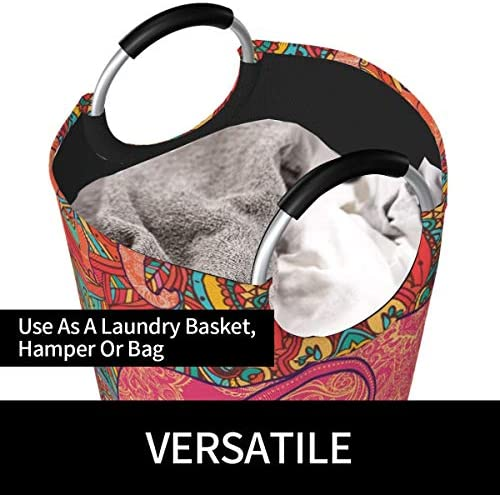 TYHG Sac à linge 82 l Grand panier à linge sale imprimé 3D Motif éléphant indien vintage Texture imperméable et portable avec poignées pour salle de bain, collège, dortoir