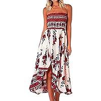 Vestido de verano, sin hombros, tipo boho, tubo, con parte superior floral, solera, vestido para cóctel o playa.