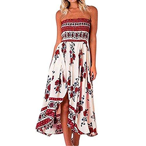 Printed Maxi Tube Dress (Women Dress,Haoricu Hot Sale!New Summer Women Off Shoulder Boho Tube Top Floral Sundress Maxi Evening Party Beach Long Dress (Asian Size:L, Red))