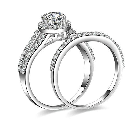 Gentlemans Titanium Diamond Set - Daesar Sterling Silver Ring for Women Ring Silver Diamond 4-Prong Cubic Zirconia Ring Set Ring Size 7