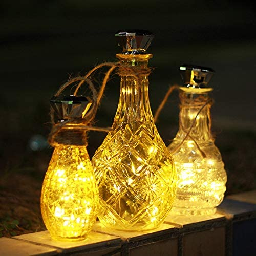 Solar Wine Bottle Lights, 6 Pack Solar Diamond Cork Lights Bottle NOT Include , 20LEDs String Fairy Lights Waterproof Outdoor Lights for Wedding Holiday Garden Patio Pathway Decorative Warm White