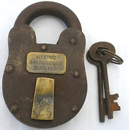 Cast Iron Alcatraz Penitentiary Prison Padlock Lock With Keys