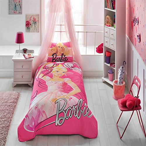 LaModaHome Licensed Bedspread Set, 100% Cotton - Barbie with Dress, Blonde, Love, Pink - Set of 2 - Bedspread and Pillowcase for Single Bed Size