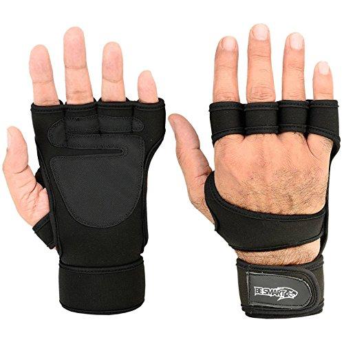 Crossfit Handschuhe-Gewichtheben Handschuhe-Fitness Gym Gewichtheben, Handgelenkbandage aus Neopren Packungen Gel-Handschuhe, damen Herren Kinder, schwarz 2, M