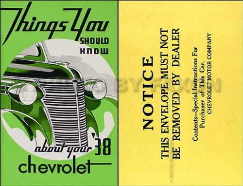 1938 Chevrolet Car Owner's Manual Reprint Package Deluxe Control Package
