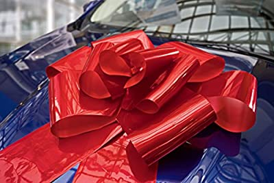 """Kenley 23"""" Large Red Magnetic Car Bow with 56"""" Ribbon Strings - Huge WOW Big Surprise Decoration Wrap for Wedding, Birthday, Christmas Gifts & Giant Presents - Attaches with Magnets & Suction Cup"""