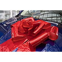 "Kenley 23"" Large Red Magnetic Car Bow with 56"" Ribbon Strings - Huge WOW Big Surprise Decoration Wrap for Wedding, Birthday, Giant Presents - Attaches with Magnets & Suction Cup"