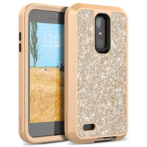 LG Aristo Case, LG K8 2017 / Phoenix 3 Case, WeLoveCase Bling Glitter Sparkle Case 3 in 1 Hybrid Shockproof Three Layer Heavy Duty Protective Cover Case for LG LV3/Aristo/Phoenix -